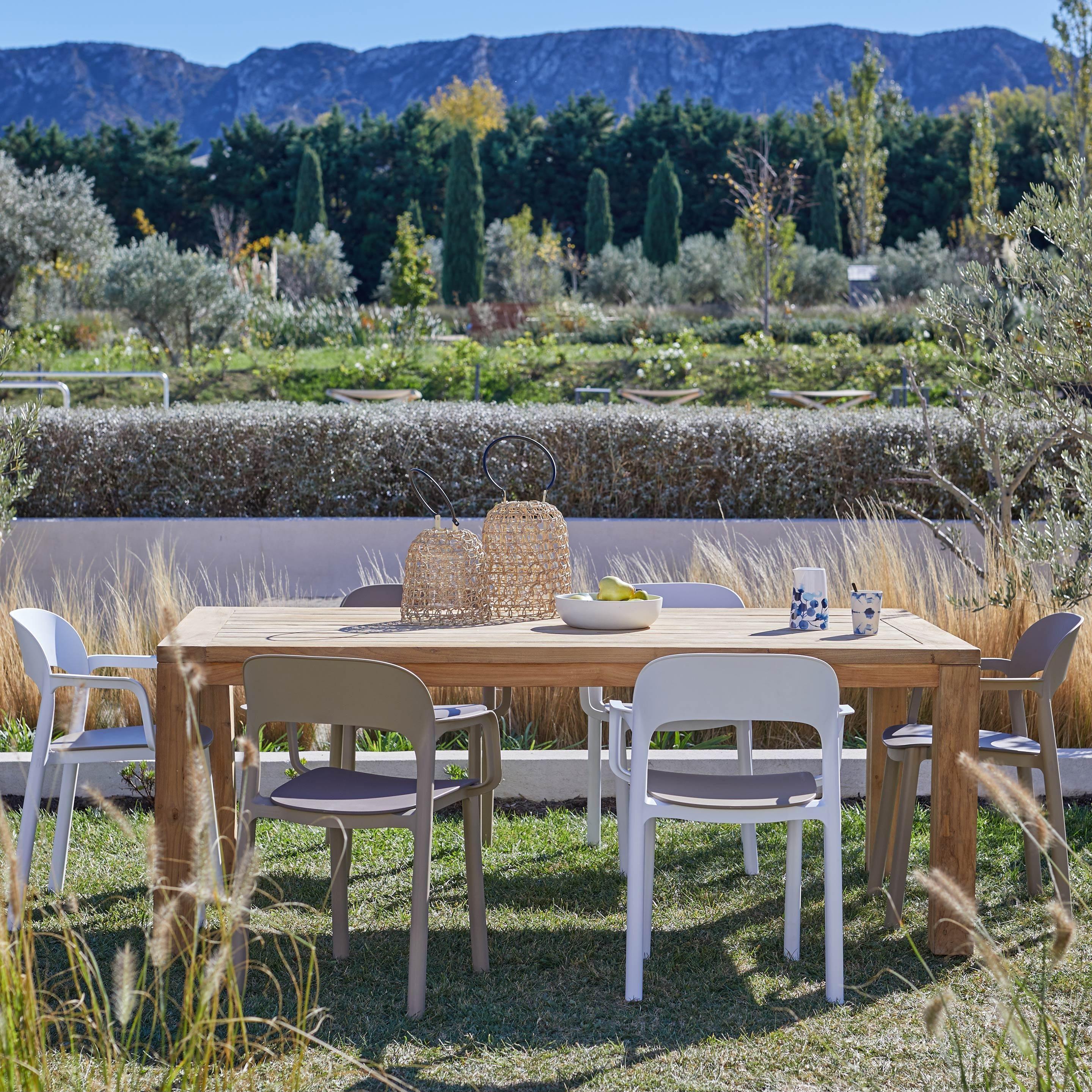 Salon De Jardin Jambi Bois Naturel 6 Personnes Agrement De