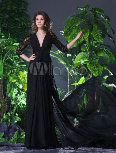 Vestido de noche de gasa negra con escote en V de línea A hasta el suelo - Milanoo.com