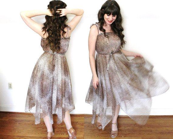 1970s Dress / 70s Handkerchief Hem Leopard Print Dress by Coldfish