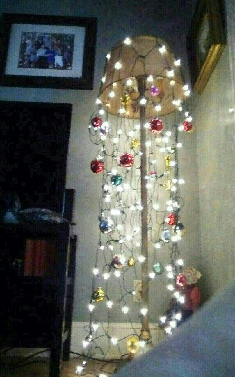 Christmas Netted Lights Over My Floor Lamp Christmas Net Lights Holiday Lights Christmas Lighting