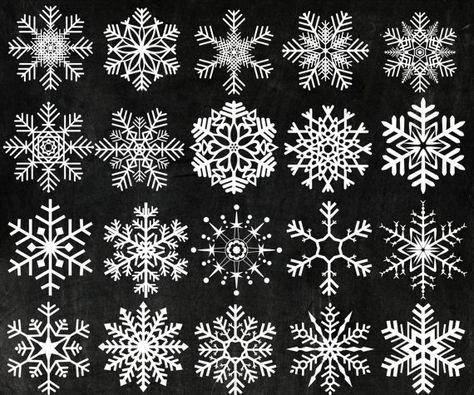 "Chalk Snowflakes Clipart: ""CHRISTMAS CLIP ART"" Snowflake Clip Art Snow Clip Art Frozen Snow Flake winter clipart digital snowflake"