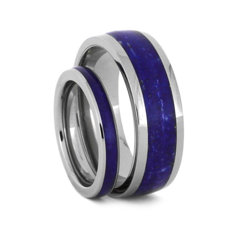 Lapis Lazuli Wedding Band Set His And Hers Anium Rings 3433