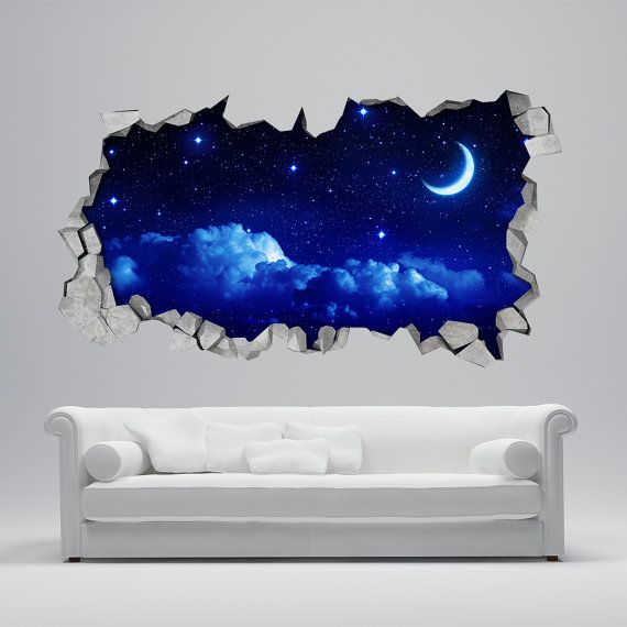 Moon wall sticker 3d broken wall decal 3d wallpaper - 3d vinyl wandtattoo ...