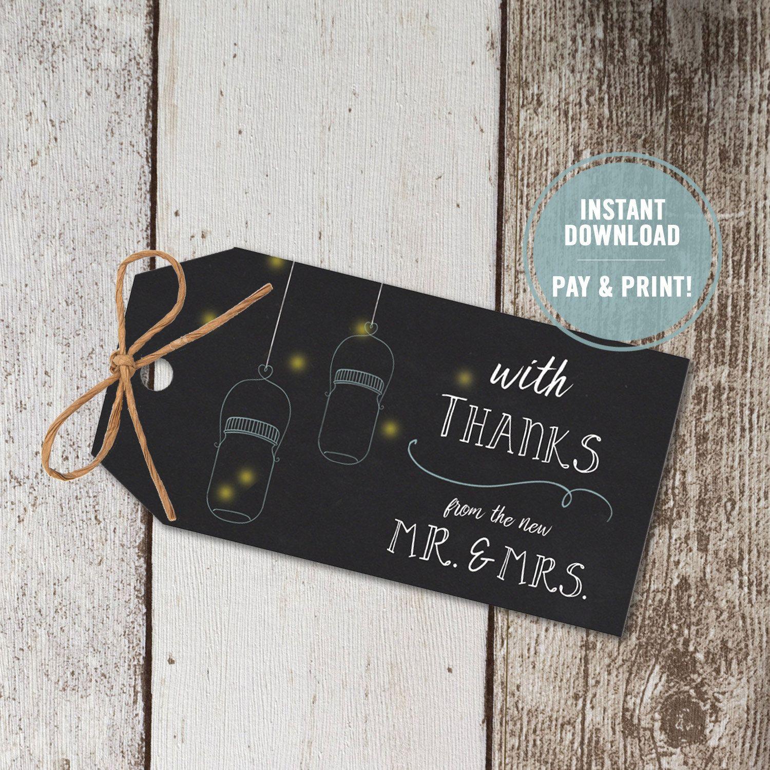 Wedding Favor Tags Printable, Chalkboard Thank You Tags, Party Favor Tags, Bridal Thank You Tags, Wedding Favor Tags, Instant Download Tags by ShadesOfGrace1 on Etsy