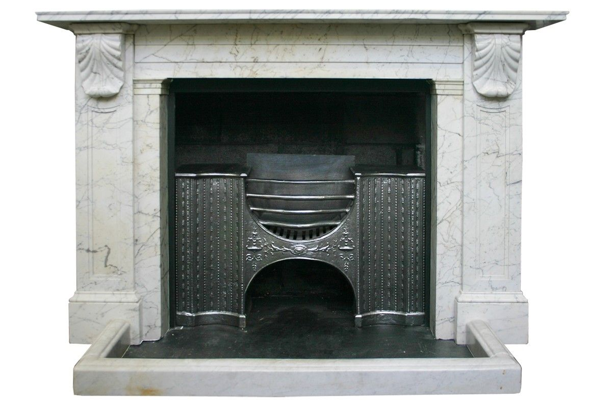 antique georgian carrara white marble fireplace surround