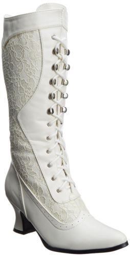 Ivory Off White Lace Bridal Victorian Flapper Wedding Shoes Ankle Boots Womans