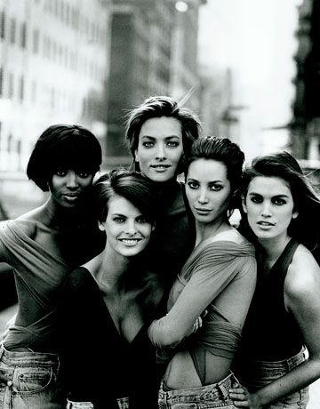 Faces of Fashion - Naomi Campbell, Linda Evangelista, Tatjana Patiz, Christy Turlington and Cindy Crawford - 1989 -  Photo by Peter Lindbergh - @~ Mlle