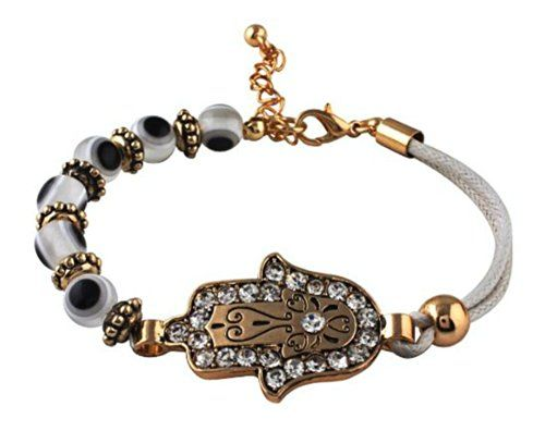 Evil Eye Hamsa Stretchy Bracelet with CZ Stones - Lead Free ** Check out the image by visiting the link.
