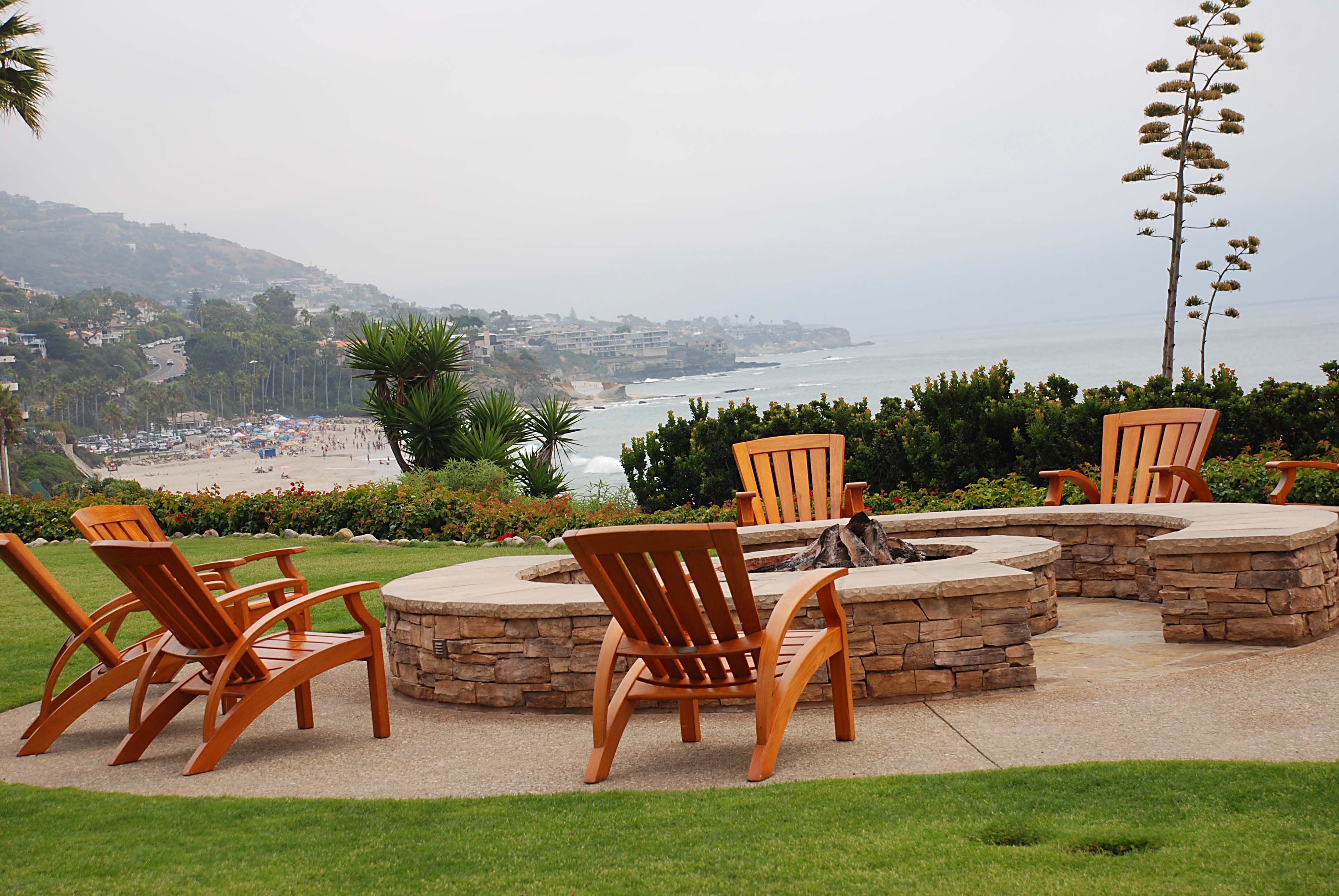montage hotel fire pit with an ocean view my two best