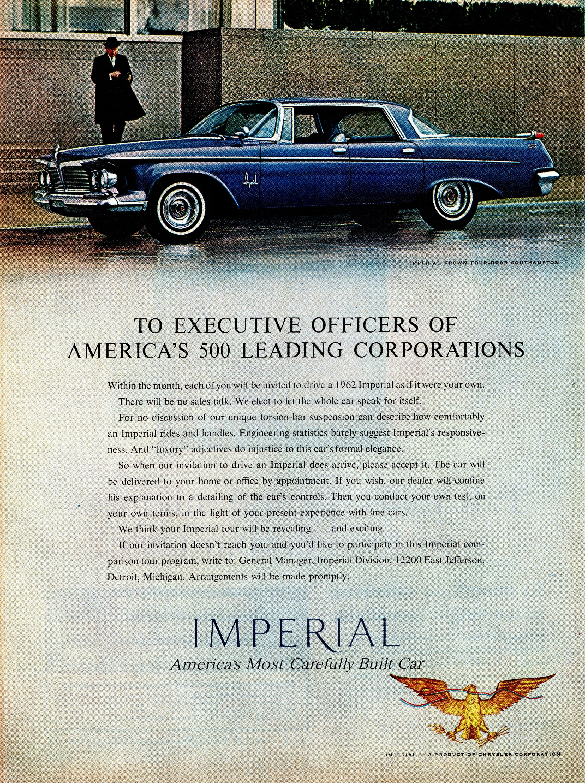 1962 Chrysler Imperial Crown Four-Door Southampton Ad   Automobile ...