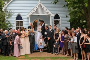 Happy Wedding Party Outside The Old Church Tamborine Mountain Churchweddingtamborinemountain Bluechurch