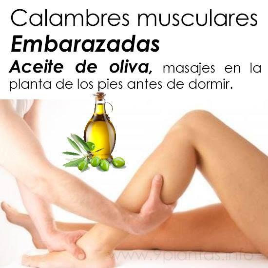 Calambres musculares   Embarazadas Aceite de oliva: masajear la ...