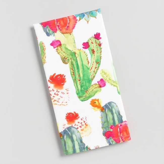 Watercolor Cactus Print Kitchen Towel Cotton By World Market
