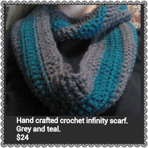 Hand crafted crochet infinity scarf. $24