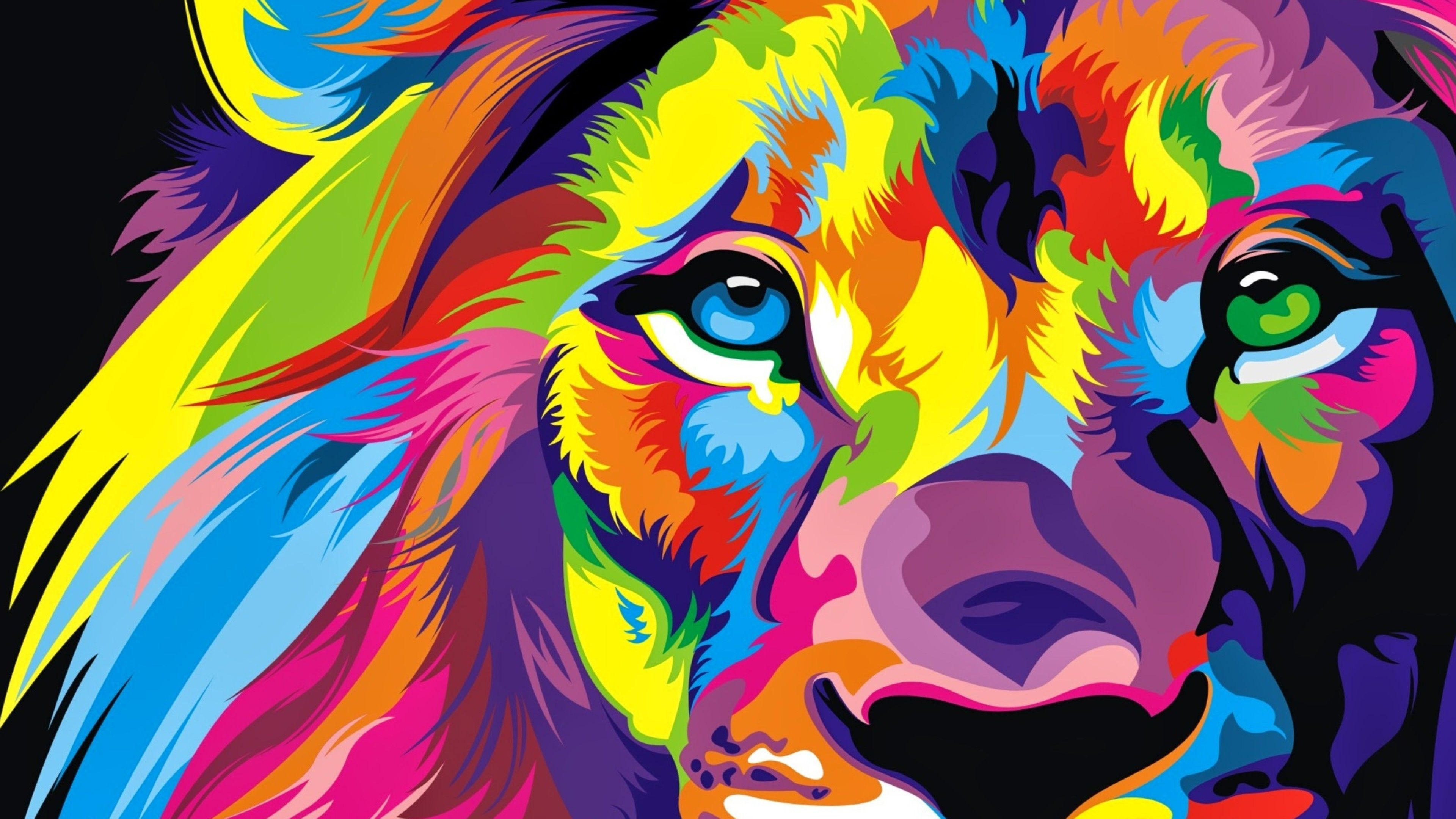 3840x2160 Download Full Hd Colourful Lion Artwork Wallpaper 4k Ultra Hd Hd Lion Artwork Colorful Lion Colorful Lion Painting