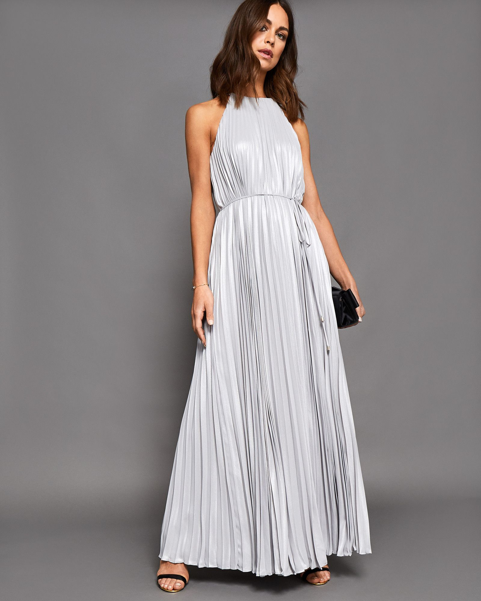 859db7a70e1 Ted Baker Metallic pleated maxi dress Silver