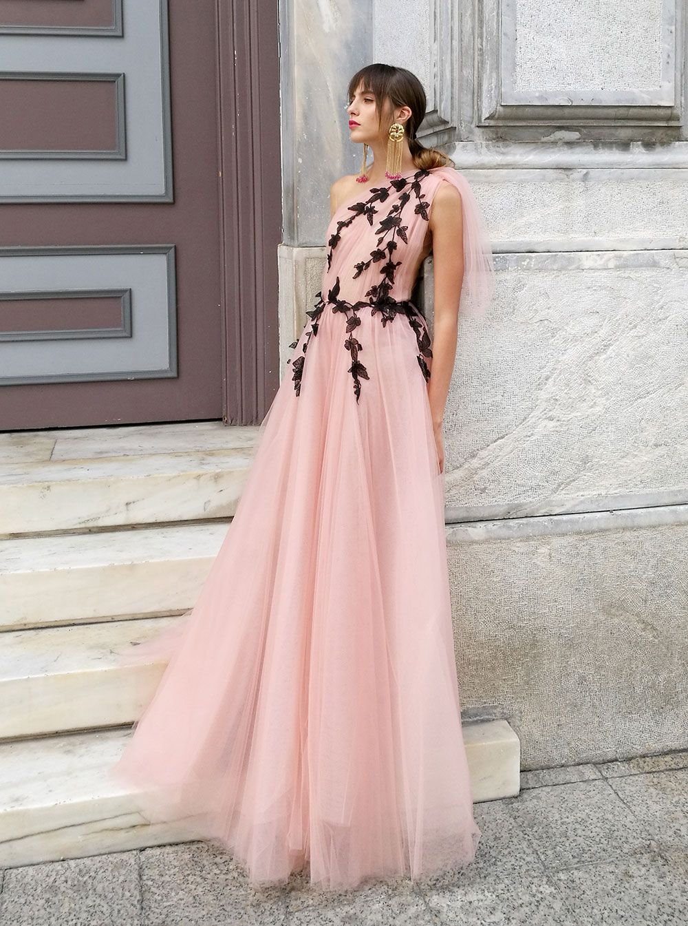 4cd9f042c2e Costarellos Spring Summer 2018 Collection  br   SS18-71 br   Illusion One  Shoulder Tulle Ball Gown