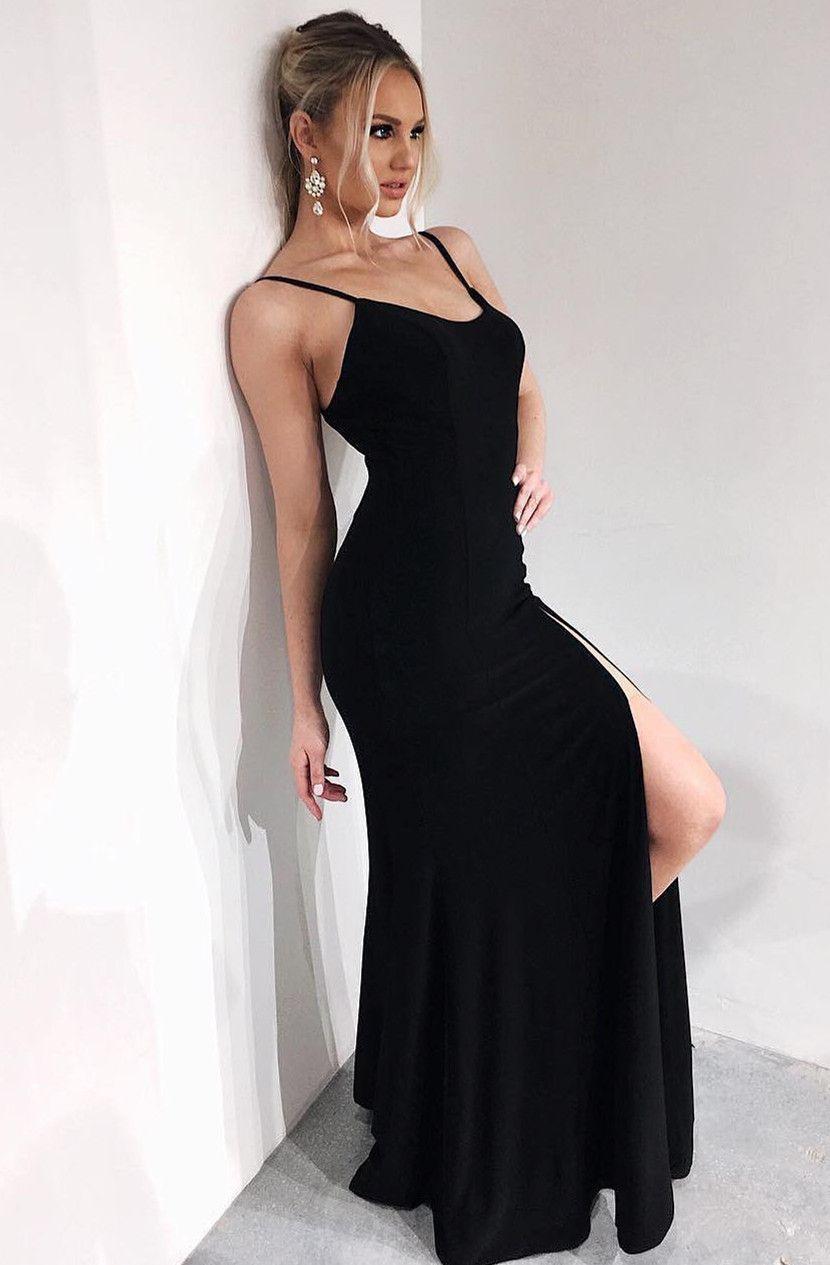 Modest Black Tight Split Formal Prom Party Dresses Fashion Simple Spaghetti Straps Evening Black Tight Prom Dress Long Tight Black Dress Elegant Prom Dresses [ 1265 x 830 Pixel ]