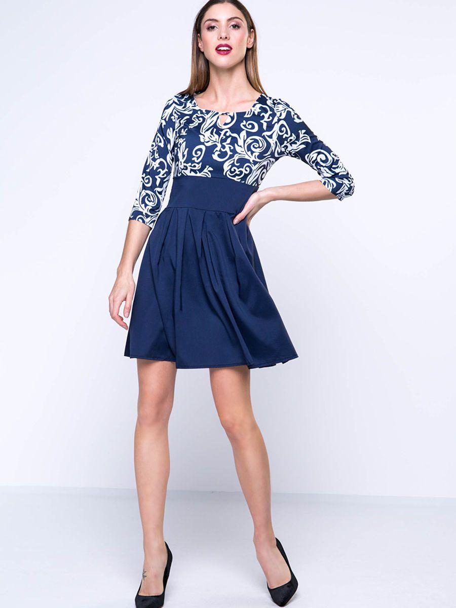 #AdoreWe #FashionMia Skater Dresses - Designer FashionMia Keyhole Trendy Paisley Square Neck Skater Dress - AdoreWe.com
