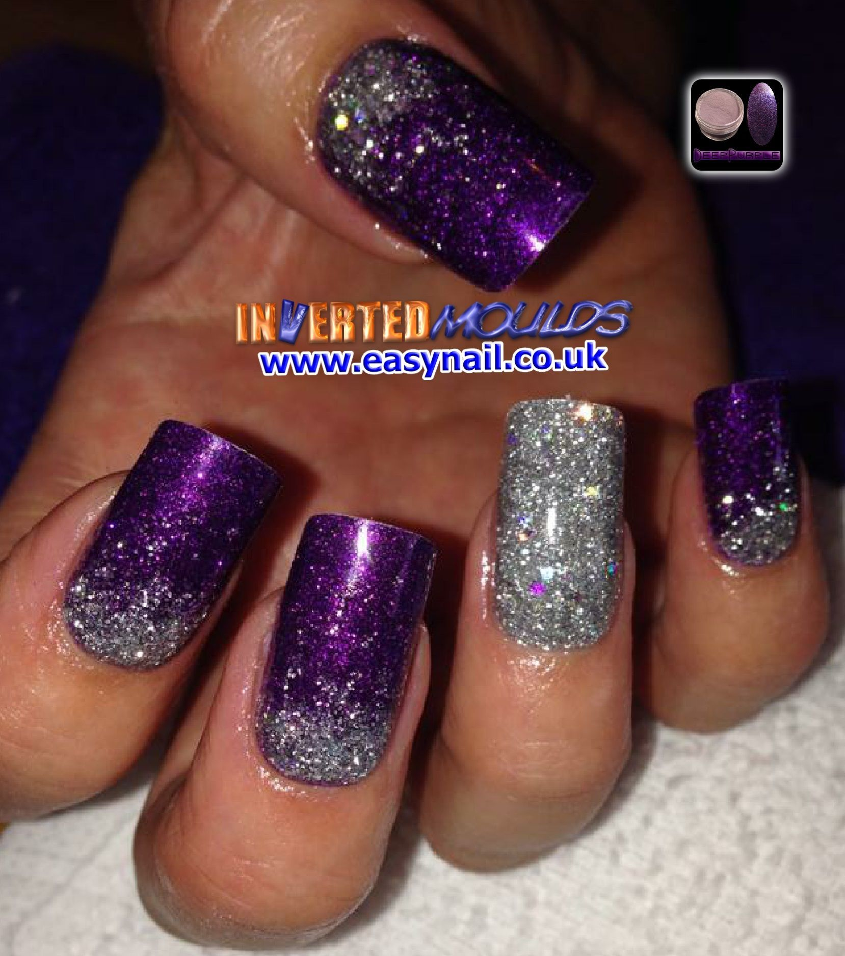 Our Deep Purple Acrylic With Silver Glitter Fades By Laura Denton Nails Bylaura Im S Available Purple And Silver Nails Purple Acrylic Nails Purple Nail Designs