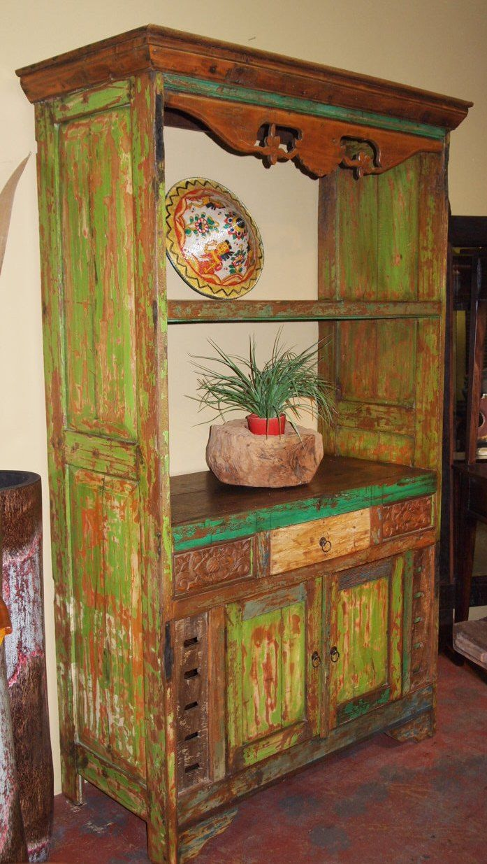 Painted Reclaimed Wood Hutch From Old Doors Visit Gado