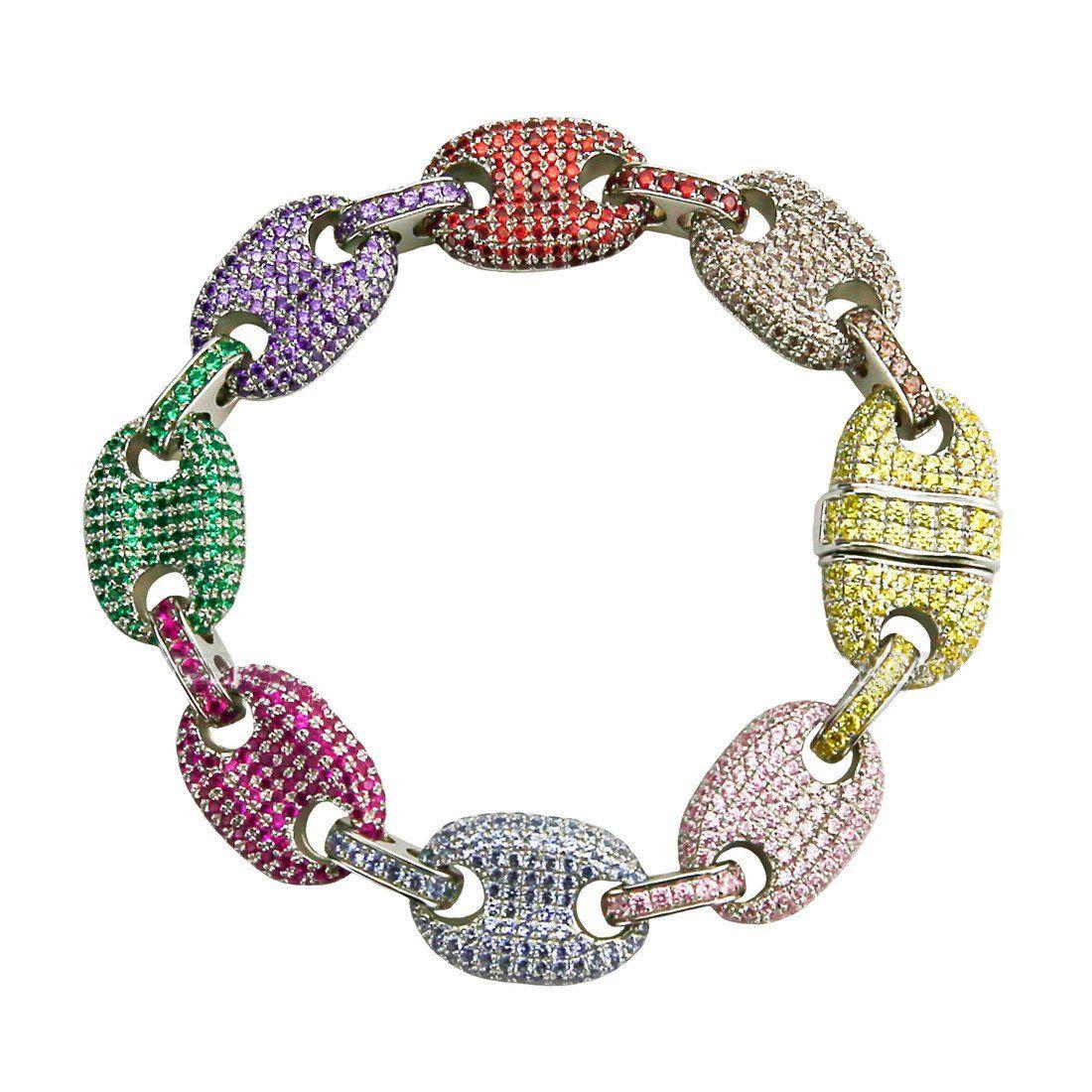 Iced Out Gucci Link Mariner Link Bracelet 13mm Multi
