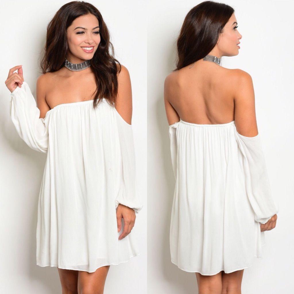 Clearance white offshoulder long sleeve dress sleeved dress