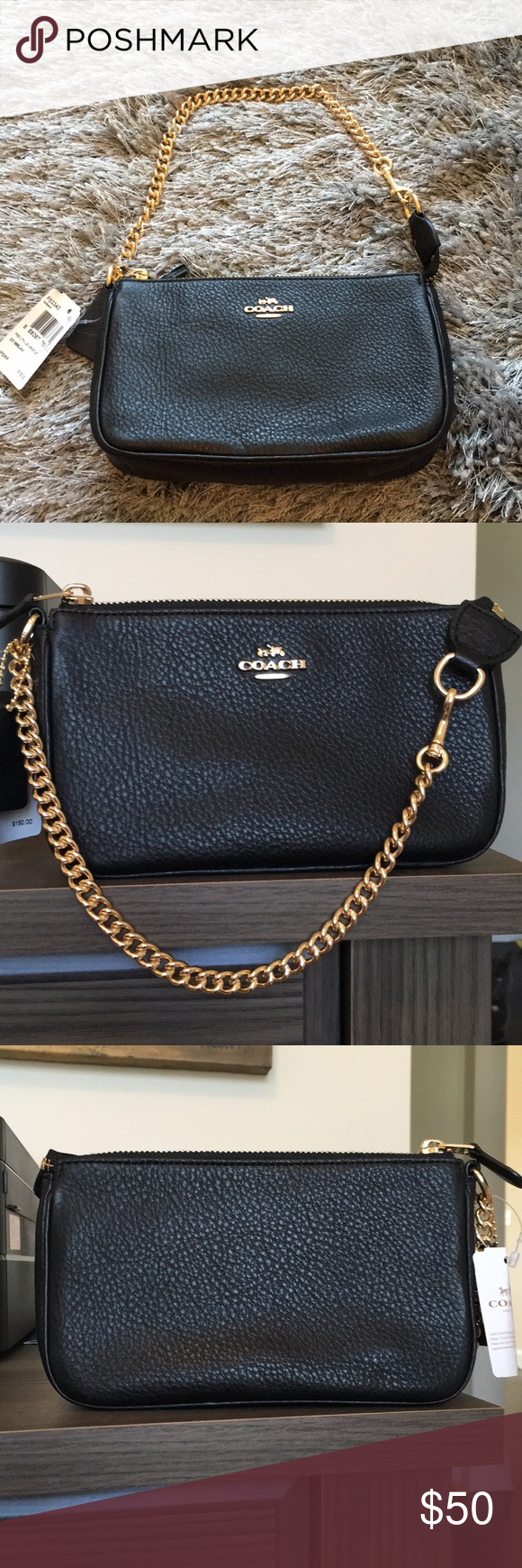79c7e42ba47 New Coach Pochette NWT! Soft black pebbled leather with gold chain strap.  Fits large
