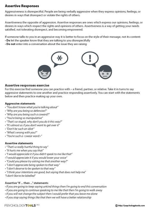 Assertive Responses Cbt Worksheet Psychology Tools Tf Cbt