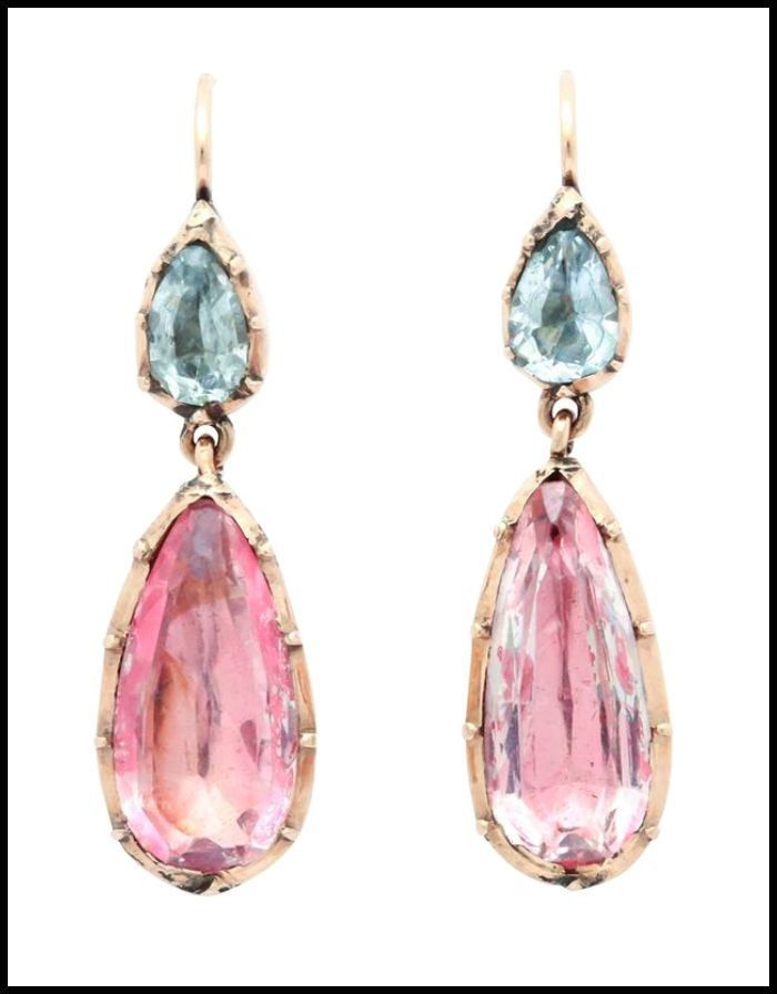 A Lovely Pair Of Antique Georgian Earrings Foiled Back Design With Aquamarines And Pink Topaz Or Crystal In 15k Gold Circa 1830
