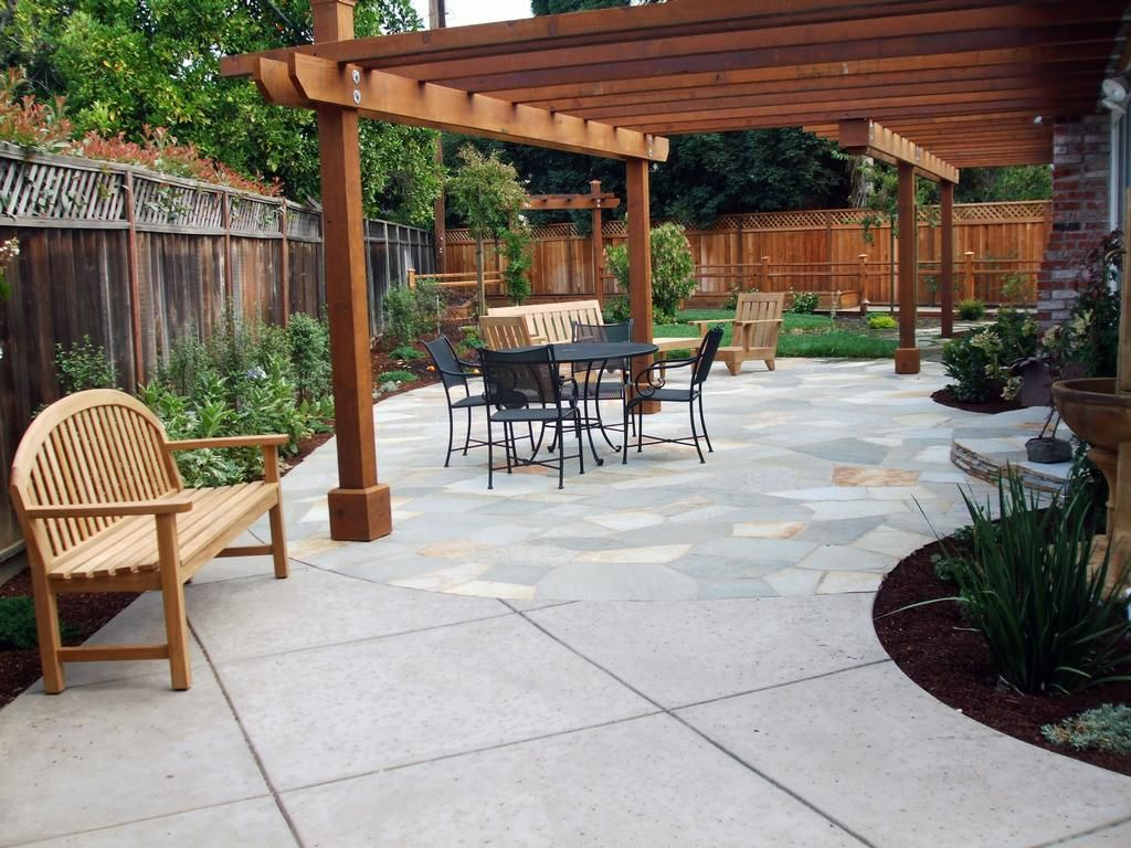 patio landscaping | : flagstone patio & redwood arbor.jpg provided ... - Backyard Stone Patio Ideas