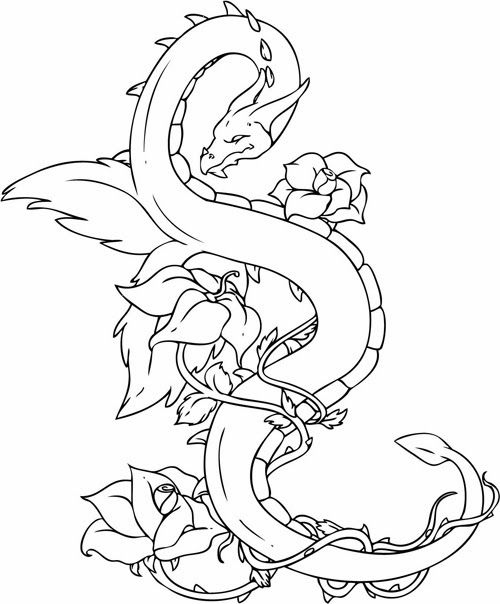 graphic relating to Free Printable Tattoo Designs referred to as Cost-free Printables Dragon Tattoos Design and style Cost-free Printable