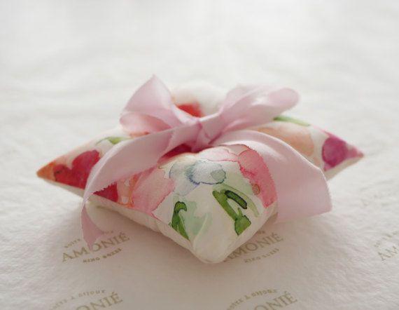 Silk watercolour ring cushion  blush pink ribbon