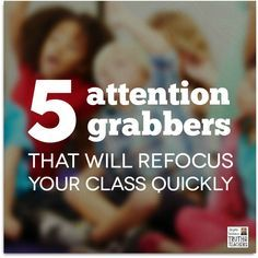 You really are better off trying to muster just a little more energy and grabbing kids attention in a fun and engaging way, because you won't have to repeat yourself later and you won't be derailing the positive momentum of your lesson by fussing at off-task students. So, here are 5 types of attention grabbers that I really love using with kids.