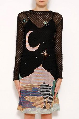 Moon Print Dress By Missoni 5 752 Details Long Sleeve Mid Length Low Back With Tie