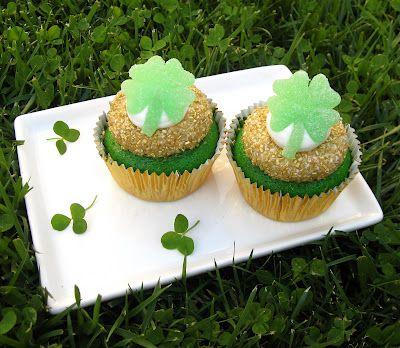 Green Velvet Cupcakes w/ (easy-to-make) gumdrop shamrocks