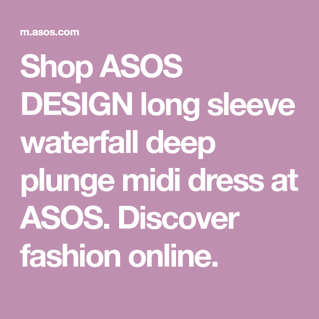3d611157531a7 Shop ASOS DESIGN long sleeve waterfall deep plunge midi dress at ASOS.  Discover fashion online