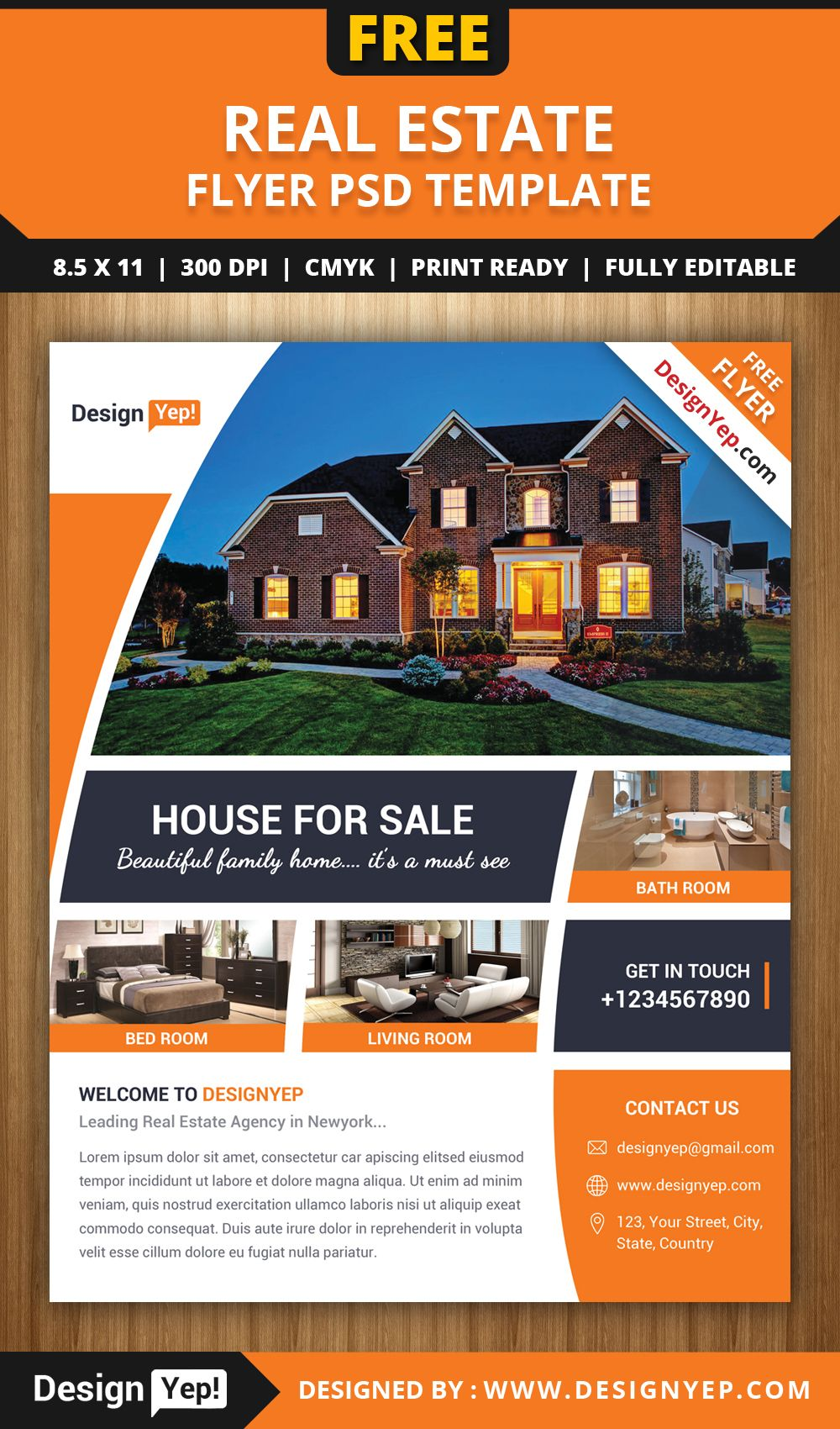 FreeRealEstateFlyerPSDTemplateDesignyep Free Flyers - Free real estate brochure templates