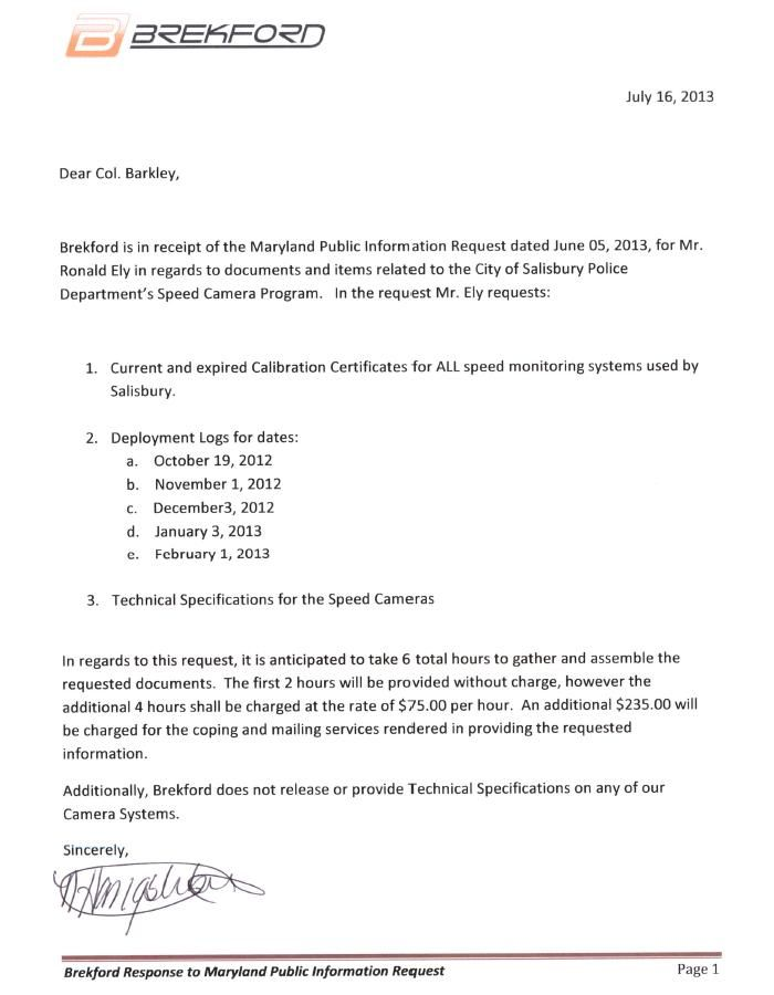 Home Camera Enforcement Speed Cameras Maryland Business Letter