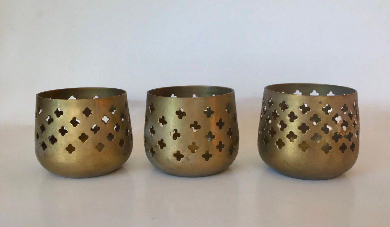 Handmade Pure Brass Tea light Candle Holders Set of 2 Home Decor Votive Holder