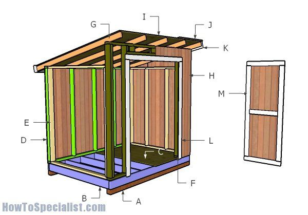 6 8 Lean To Storage Shed Plans Diy Shed Plans Wood Shed Plans