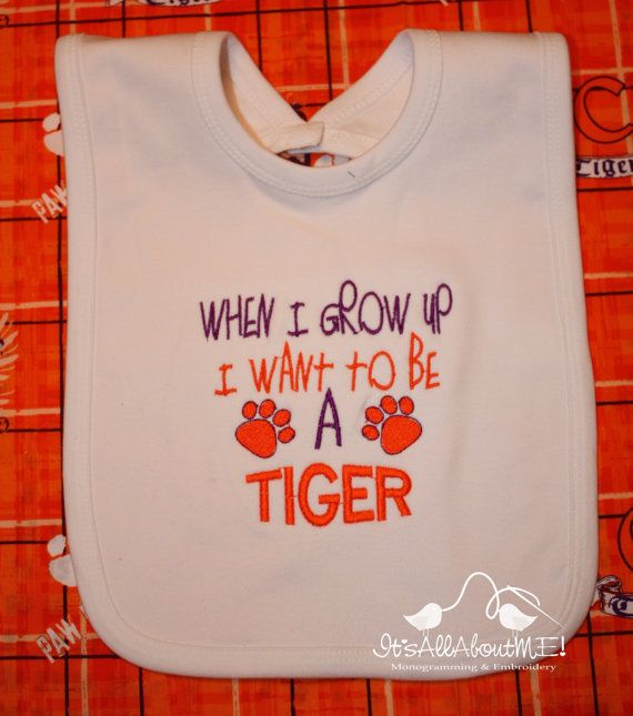 When I grow up I want to be a Tiger  embroidered bib by sandrahuss, $13.00