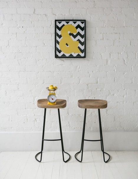 Love A Flash Of Acid Yellow To Update A Vintage Theme. Weathered Oak Metal  Stool