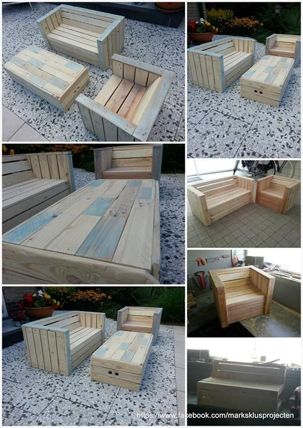 outdoor furniture made with pallets vivre dehors meubles et mobilier ext rieur en palettes. Black Bedroom Furniture Sets. Home Design Ideas