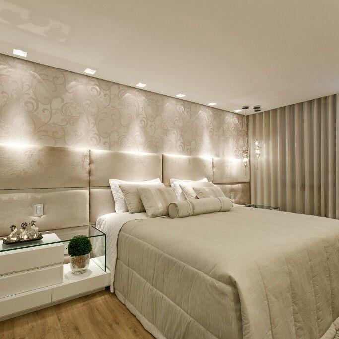Quarto casal cabeceira estofada papel de parede for Ver dormitorios decorados