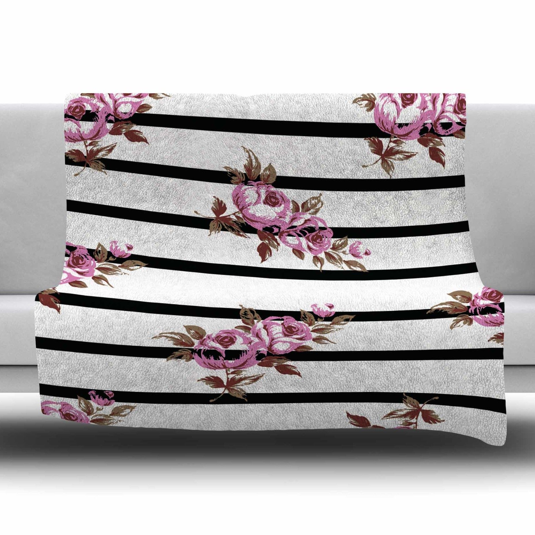Floral Strips by NL Designs Fleece Blanket