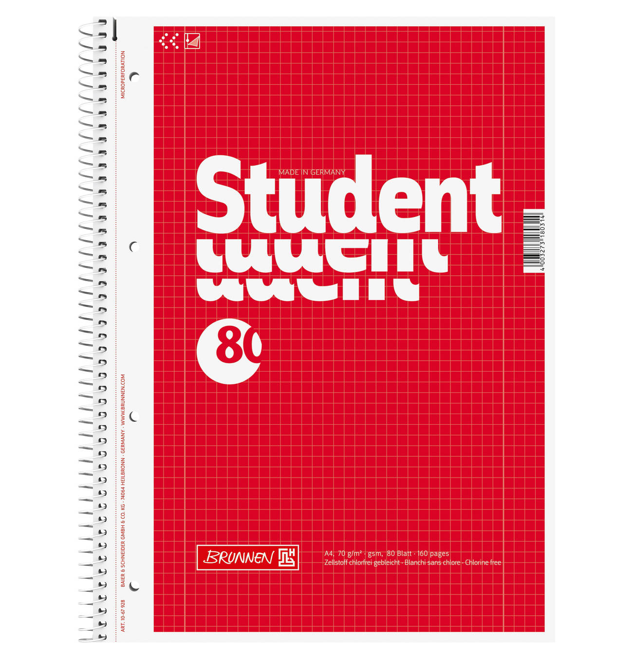 Collegeblock Din A4 80 Blatt Kariert Collegeblock Student