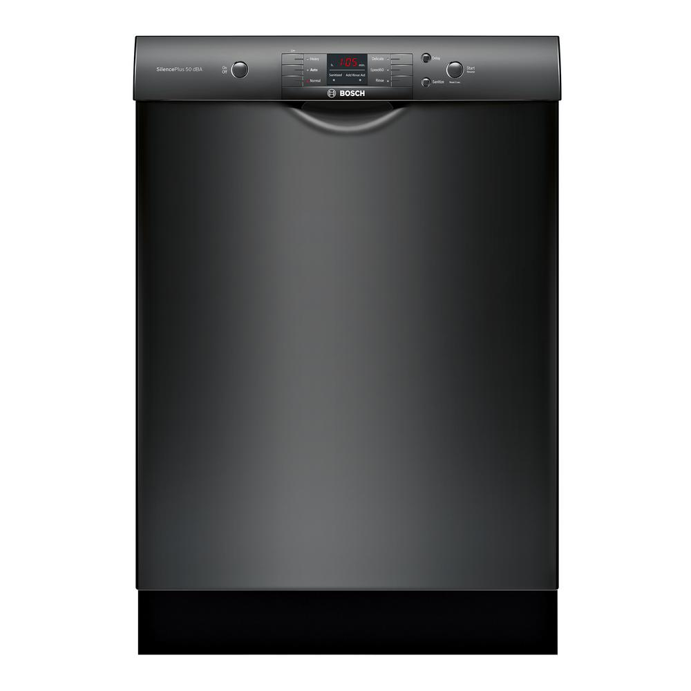 Bosch 100 Series 24 In Black Front Control Tall Tub Dishwasher With Hybrid Stainless Steel Tub And Utility Rack 50dba Shem3ay56n The Home Depot Black Dishwasher Built In Dishwasher Steel Tub