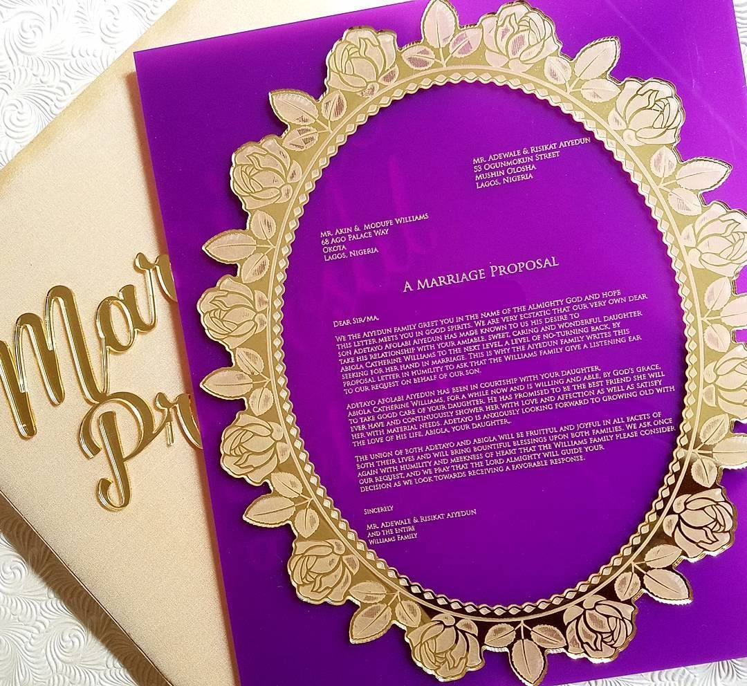Engagement Letter In Gold And Purple Love This Regal Combo For