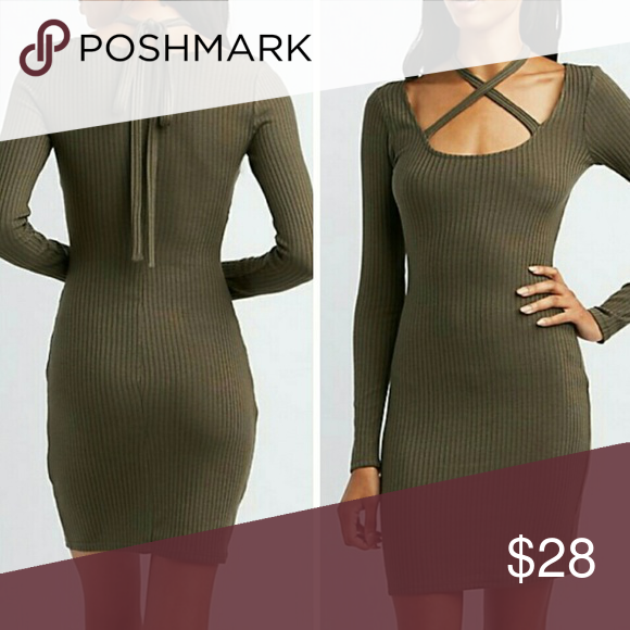 Ribbed Longsleeve Criss Cross Bow Dress Brand new no tags  Ribbed Cotton Stretch Dress Long Sleeves  Stretch Bodycon fit Olive green  Small Dresses Long Sleeve